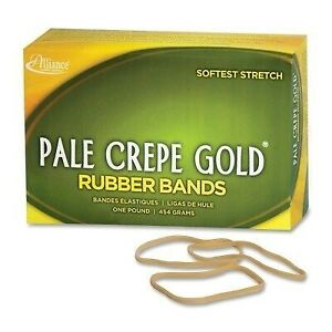Pale Crepe Gold Rubber Bands Size 33 3 1 2 X 1 8 1lb Box By Alliance