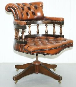 Lovely Restored 1967 Chesterfield Vintage Brown Leather Directors Captains Chair