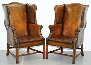 Pair Of Georgian Circa 1820 Restored Hand Dyed Brown Leather Wingback Armcahirs