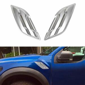 Front Side Fender Vent Silver Cover Trims For 2015 Ford F150 Raptor Accessories