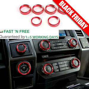 Red Air Conditioner Audio Switch Decor Ring Cover Trim For Ford F150 2016 2018