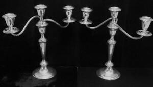 Pair Of Gorham Weighted Sterling Silver Candelabra Candle Sticks Interchangeable