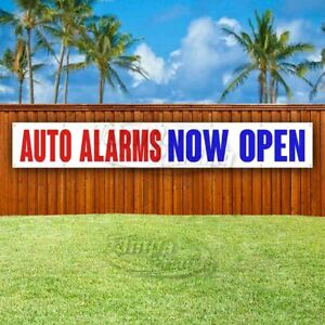 Auto Alarms Now Open Advertising Vinyl Banner Flag Sign Large Huge Xxl Size
