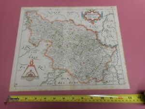 100 Original West Yorkshire Map By Saxton Kip C1637 Scarce Hand Coloured