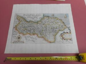 100 Original North Yorkshire Map By Saxton Kip C1610 Scarce Hand Coloured