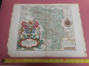 100 Original Derbyshire Map By Saxton Hole C1637 Vgc Scarce Low Uk Post