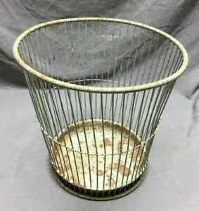 Antique Wire Waste Basket Garbage Can Shabby Vintage Chic 264 19c