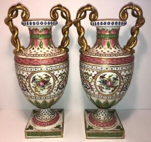 Antique Pair Of French Sevres Style Porcelain Vases 18 Tall