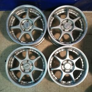 4 16 Enkei Rs Evolution Jdm 5x114 3 Racing Wheels Rare Authentic 16x7 38 Blitz