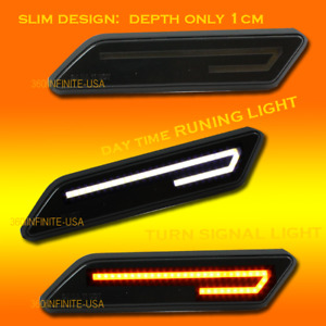 Smoke Lens Side Marker Led Tube Fender Vent Turn Signal Light Dual Color