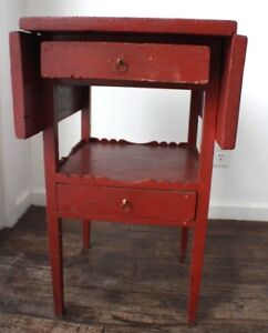 Old Antique Wooden Wood Hepplewhite Side Table With Drawer Red Painted 1900