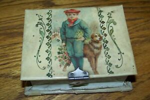 Old Antique Celluloid Box With Child Dog Flowers Sewing Manicure Set