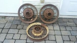 Set Of 3 Ford Vintage Wire Wheels