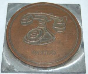 Antique Telephone Queens N Y Advertising Printers Plate Letter Press Sign Block