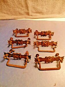 Vintage Brass Drawer Pull Plates With Iron Bail Pulls