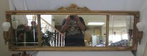 Rare Antique 19th Century Victorian Parlor 3 Panel Bevel Mirror Electric Lights