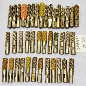 40 Pc Lot 3 4 4 Flute And 6 Flute Rh Cobalt Used End Mills