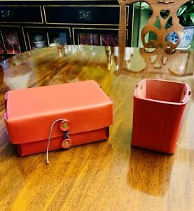 Red Leather Coach Desk Set Box With Lid And Pen Cup