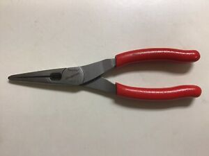 Snap On Tools Usa Red Talon Grip Needle Long Nose Pliers W Cutter 196cf