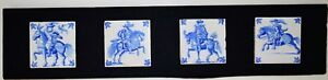 Original Antique Dutch Delft Tile Horseman Set Four Pieces Rare