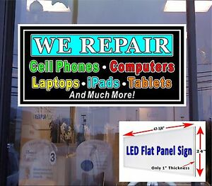 We Repair Cell Phone Tablets Computer Led Flat Panel Light Box Sign 48x24