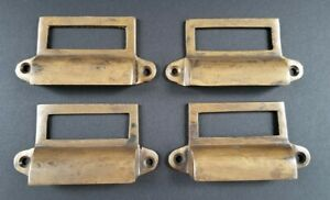 4 Antique Brass File Apothecary Drawer Pull Handles 3 1 4 W Label Holders A17