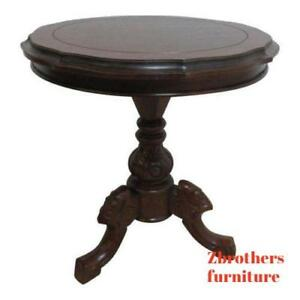 Antique Mahogany Hand Carved Pedestal Lamp End Table French Regency Louis Xv