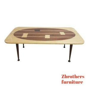 Custom Mahogany Inlaid Mid Century Danish Space Age Coffee Table A