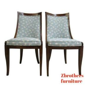 Pair Vintage French Regency Hip Rest Dining Room Desk Side Chairs