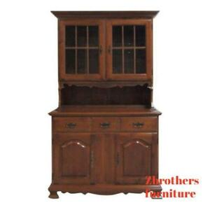 Vintage Maple Chippendale Carved China Cabinet Hutch Crystal Curio