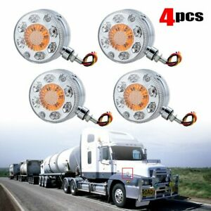 4x Round Led Pedestal Fender Truck Trailer Double Face Turn Signal Brake Light