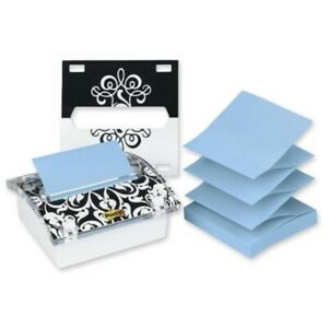 Post it Pop up Es Dispenser For 3 In X 3 In Es Includes Black And White Brocad