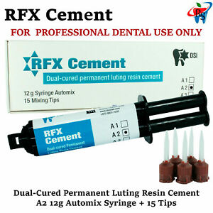 Dental Rfx Resin Permanent Radiopaque Crown Bridge Cement 12g Automix A2