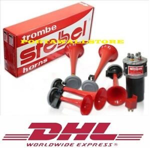 Stebel Red Color Musical Air Horn Kit River Kwai Tune 12 Volt