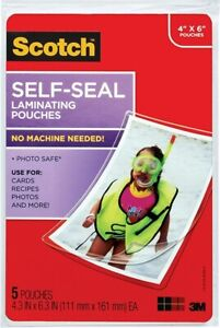 5 Packs Of 5 Self sealing Laminating Pouches 9 5 Mil 4 3 8 X 6 Photo Size