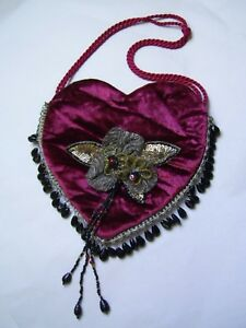Antique Victorian Handcrafted Red Velvet Dolly Bag W Beaded Appliquee Trimmings