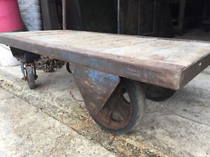 Vintage Industrial Factory Cart Warehouse Loft Decor Steampunk Coffee Table Blue