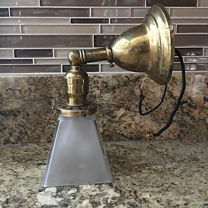 1 Single Wired Brass Sconce Frosted Globe Shade Great 3e