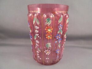 Old Antique Victorian Cranberry Glass Enameled Ribbed Tumbler