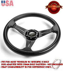 13 5 Pvc W Brushed Black Spokes Steering Wheel Horn Button For Honda Acura