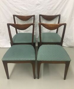 Set Of 4 Mid Century Drexel Walnut Dining Chairs
