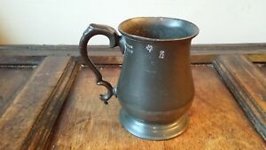 Antique Victorian Pewter Tankard Mug 1 Imperial Pint Touchmarks Vgc