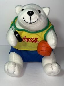 COCA COLA Polar Bear Plush with Basketball and Bottle on Hand 9