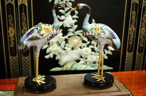 One Pair Of Vintage Chinese Bronze Cloisonn Cranes 1970s