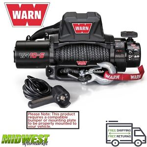 96815 Warn Vr10 S 10k Lb Self Recovery Electric Winch W 90ft Of Synthetic Rope