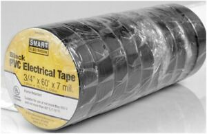 Electrical Tape Black Insulated Rolls Utilitech 10 Pack 60 ft