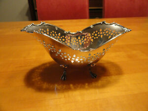 Antique Towle Sterling Silver Candy Dish Pierced And Footed