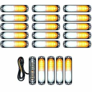 20x White Amber yellow 10 led Emergency Beacon Warn Flash Strobe Light 12v 24v