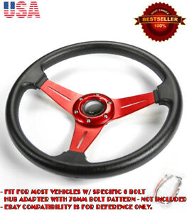 13 5 Pvc W 3 Red Spokes Steering Wheel Horn Button For Vw Porsche Audi
