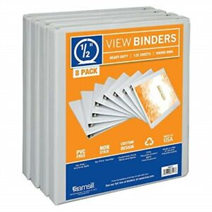 Samsill 3 Ring Durable View Binders 8 Pack 1 2 Inch Round Ring Non stick C